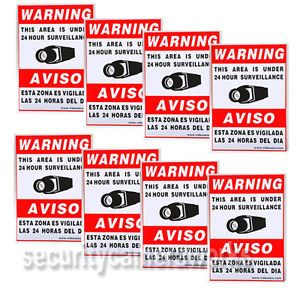 8 CCTV Security Camera Video Warning Sticker Sign Decal Home Surveillance BSS
