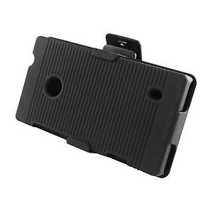 For T Mobile Nokia Lumia 521 Windows Phone 8 Case Holster Belt Clip Stand Black