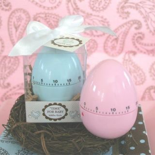 "24 48 or 72 Baby Shower Favors Pink or Blue Egg Timers ""Time for Baby"""