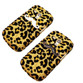 2pcs 3D Bling Mustache Leopard Skin Case Cover for Samsung Galaxy Mini S3 I8190