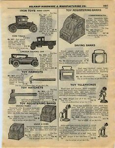 1927 Ad Iron Ford Coupe Truck Lincoln Toy Telephones Tin Banks Candle Telephones