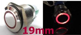 Red LED Metal Switch Momentary Push Button Car 19mm 12V