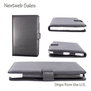 Black Leather Case Cover for Barnes Noble Nook Color