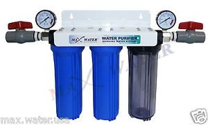 3 Stage Whole House Water Filter Sediment Carbon Filter w 2 Dry Pressure Gauges