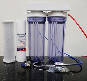 Under Sink Water Filter System Sediment Carbon Filter 2 Stage Clear Housing