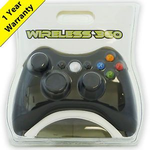 Black Wireless Game Controller for Xbox 360 1 Year Warranty Fast from USA