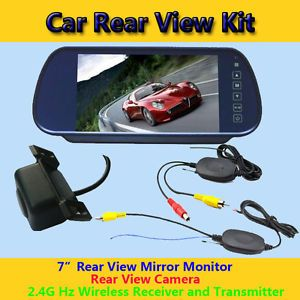 "Wireless Rear View System 7"" Rearview Mirror Monitor Rear View Camera"