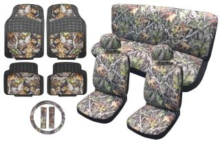 Full Interior Surreal Camo Seat Covers Heavy Duty Rubber Floor Mats Auto Set