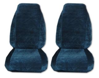 Quilted Velour High Back Car Truck Seat Covers Blue 1