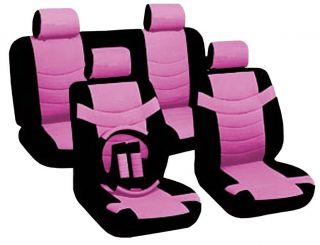 Two Tone PU Low Back Synthetic Leather Seat Covers Steering Wheel Black Pink CS5