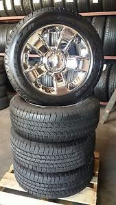 "2014 Chevy Silverado Tahoe Suburban Factory Chrome 20"" Wheels w Goodyear Tires"