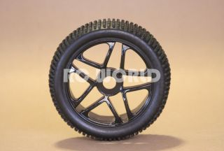 RC 1 8 Car Buggy Truck Tires Wheels Rims Package Black 5 Star Nipple