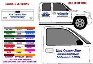 Pickup Truck Cab Tailgate Lettering Decal Kit