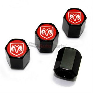 4 Dodge RAM Red Logo Black ABS Car Truck Tire Wheel Stem Air Valve Caps Covers