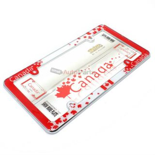 Canada Maple Leaf Flag Chrome License Plate Tag Frame for Auto Car Truck