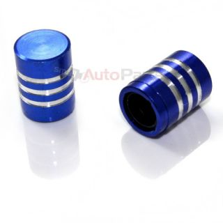 2 Blue Billet Aluminum Tire Wheel Stem Valve Caps for Motorcycle Bike Chopper