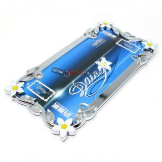 Chrome Daisy Flowers Metal License Plate Tag Frame for Auto Car Truck
