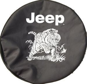 Sparecover® Brawny Series Jeep Logo Tiger Scene 30 Black Denim Tire Cover