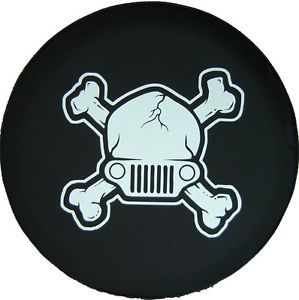 "Sparecover® Brawny Series Jeep Skull Tire Cover 32"" 33"" Heavy Denimvinyl"
