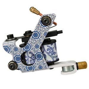 Beginner Tattoo Machine Gun Porcelain 8 Wrap Coils for Shader Liner HB WPT027K