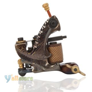10 Wrap Coils A19043 Damascus Steel Tattoo Machine Outlining Liner Gun Y 09