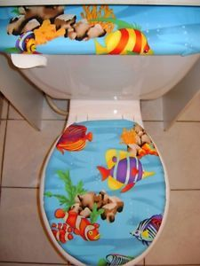 Tropical Fish Ligth Blue Sea Ocean Toilet Seat Cover Set