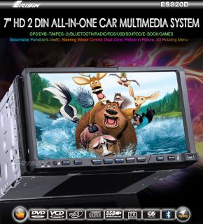 "Erisin ES820D 7"" HD 2 DIN Car Stereo DVD Player GPS DVB T Bluetooth USB SD iPod"