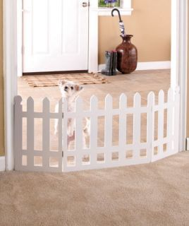 Folding Wooden White Picket Fence Pet Gate Cats Dogs Puppy Kitten Indoor Decor