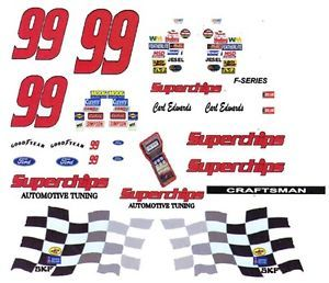 99 Carl Edwards Superchips Ford 1 64th HO Scale Slot Car Decals