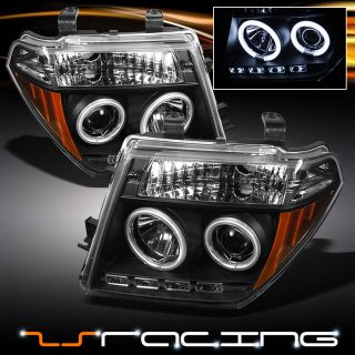 05 08 Nissan Frontier Pathfinder Dual CCFL Halo Projector LED Black Headlights