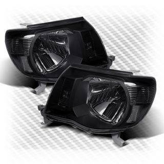 2005 2011 Toyota Tacoma Crystal Headlights Black Head Lights Pair Lamp Set