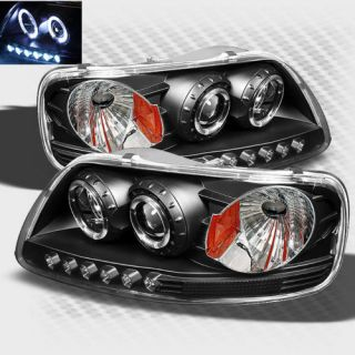 1997 2003 Ford F 150 Twin Halo LED Projector Headlights Black Head Lights Lamp