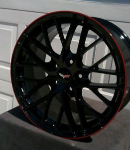 "19 20"" Black C6 ZR1 with Red Lip Corvette Wheels for Z06 ZR1 Grand Sport"