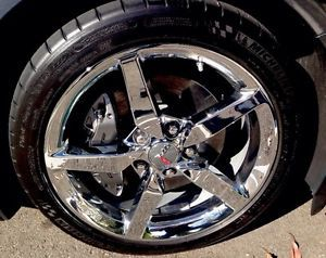 "2014 Corvette Stingray 18 19"" 5 Spoke Chrome Aluminum Wheels and Tires"