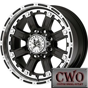 17 Black AO Armor Wheels Rims 8x165 1 8 Lug Chevy GMC Dodge RAM 2500
