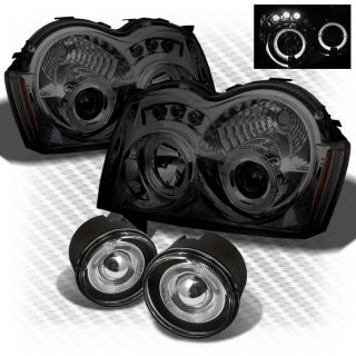 Smoked 05 07 Jeep Grand Cherokee LED Projector Headlights Halo Fog Lamp Pair Set