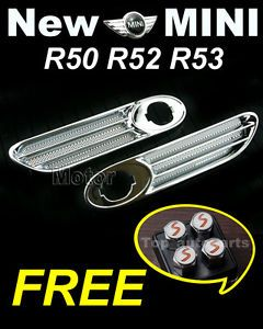 Pair BMW Mini Cooper One s JCW R50 R52 R53 Chrome Straight Side Lamp Trims N14