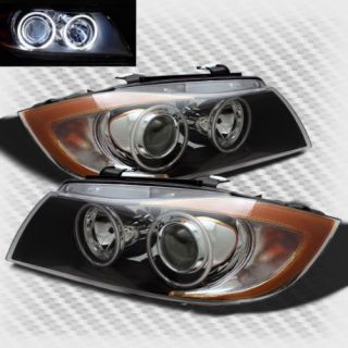 05 08 BMW E90 3 Seires Twin Halo Projector Black Headlights Lamp Head Lights Set