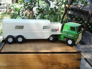 Vintage Ertl Toy Tin Metal Truck Vista Dome Horse Trailer