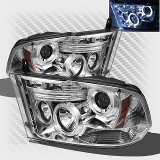 2009 2013 Dodge RAM Twin Halo LED Projector Headlights Head Lights Pair Lamp Set