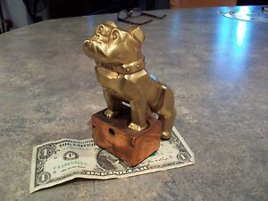 Mack Truck Hood Ornament Bulldog Gold Finish Semi Truck Trucker Copper Stand