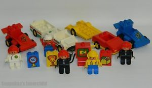 Lego Duplo Car Lot 5 Figures 2 Race Cars 1 Auto Octan Vehicle Trailer Gas Pump