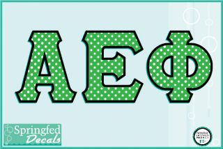 Aephi Green White Polka Dot Greek Decal Vinyl Car Sticker Alpha Epsilon PHI
