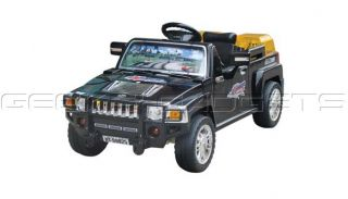Childrens Black Electric Car Ride on Hummer Jeep Toy