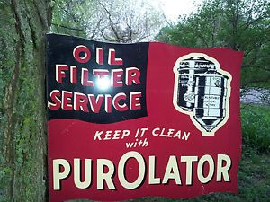 Purolator Flange Sign Oil Filter Service Gas Oil Car Truck