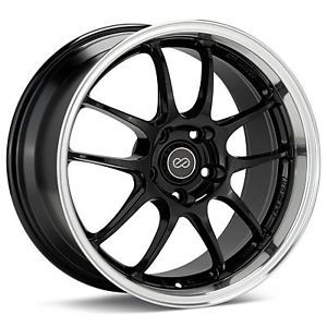 "Enkei PF01SS 17x8"" Racing Wheel Wheels 5x114 3 ET50 Gloss Black Machined Lip"