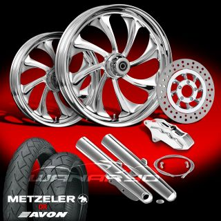 "Twisted Chrome 21"" Wheels Tires Single Disk Kit for 2000 08 Harley Touring"