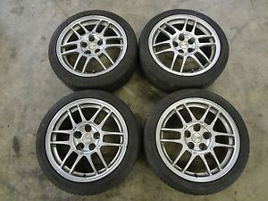 "JDM Mitsubishi Lancer EVO 4 5 6 oz Racing Wheels 17"" Enkei Rims Silver 5x114"