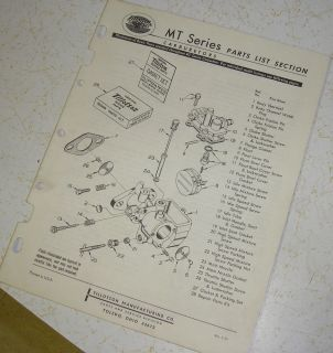 Vintage Tillotson MT Series Carburetor Harley Davidson Motorcycle Parts Manual