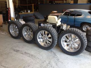 37 Mud Tires on 24in 8 Lug Hummer Dodge Chevy 2500 3500 Wheels Rims